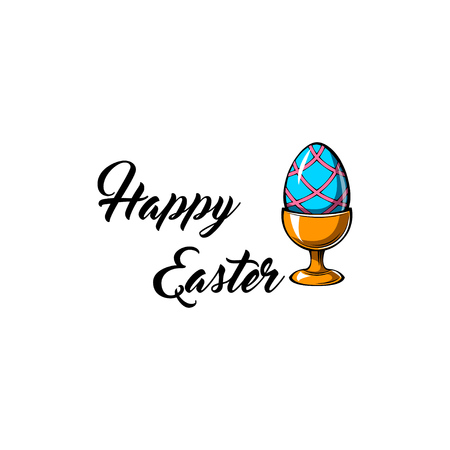Happy Easter day greeting card with egg holder. Egg-cup vector illustration. Easter design element. Imagens - 96973902