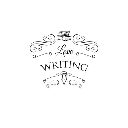 Stack of books. Ink pen, feather, vintage pen. Writer badge icon label. Vector illustration.