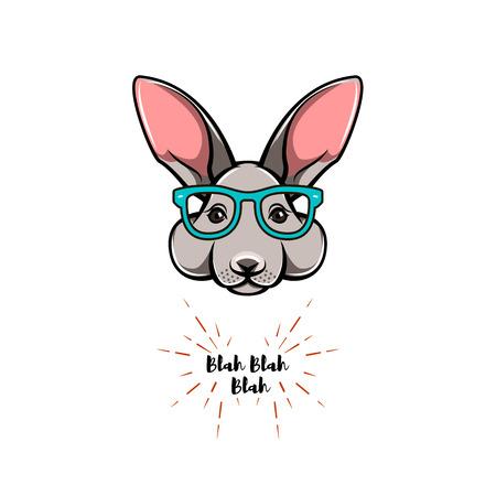 Portrait of rabbit in glasses. Hipster vector illustration.