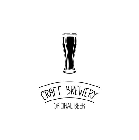 Glass of beer. Craft beer. Brewery label logo emblem. Vector illustration isolated on white background.