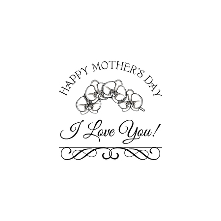 Orchid illustration for Mothers Day greeting card with swirls. Vector illustration. I love you text.