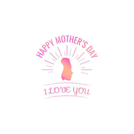 Happy Mothers Day. Womans silhouette in beams. Vector illustration. I love you lettering.