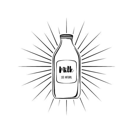 Cartoon milk bottle icon. Natural milk vector illustration. Illustration