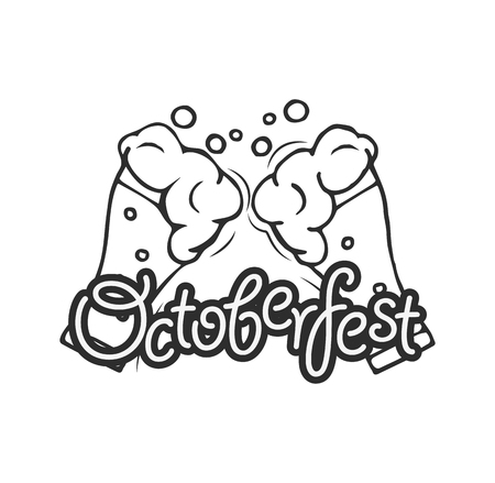 Octoberfest emblem with glasses of beer with text Oktoberfest. Vector illustration, isolated on white background.