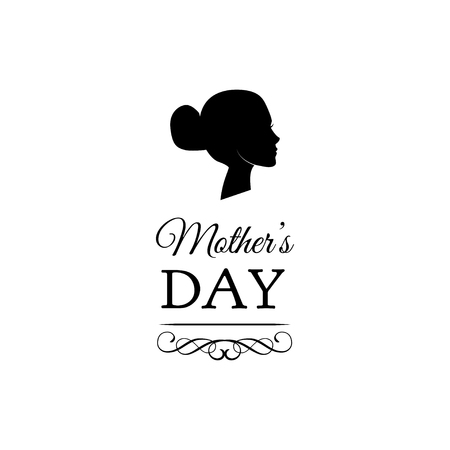 Mothers Day. Womans silhouette with ornate frame and scroll elements. Vector illustration. Greeting card design.