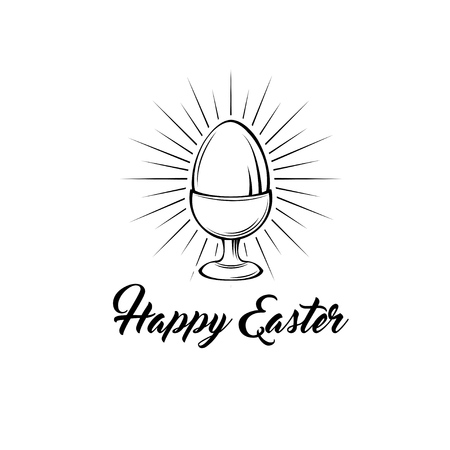 Happy easter day greeting card with egg holder. Egg-cup in beams. Vector illustration. Happy Easter text.  イラスト・ベクター素材
