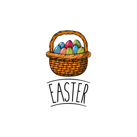 Vector - basket of Easter eggs. Basket with Easter eggs isolated on a white background. Painted eggs. Illustration