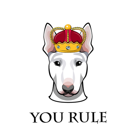 English Bull terrier dog head in crown. You rule text. Vector illustration isolated on white background. Standard-Bild - 97217096