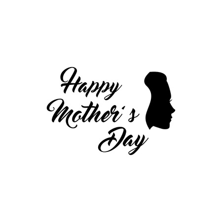 Woman s silhouette. Mothers day greeting card. Vector illustration. Happy mother s day lettering. . Can be used for logo and mother s day and baby shower celebration invitation.