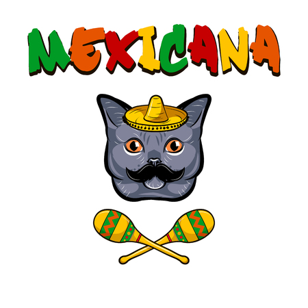 Cat face. Gray cat with sombrero, mustache and maracas. Mexicana text. Vector illustration isolated on white background. Illustration