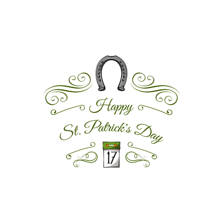 St. Patricks Day label. 17 Tear-off calendar, horseshoe, filigree and flourish elements and swirls. Vector illustration isolated on white background.