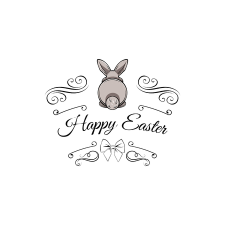 Gray easter rabbit, easter Bunny. Greeting card with swirls, ornate frame and bow. Vector illustration. Stock Illustratie