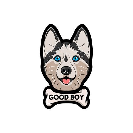 Husky dog with bone. Good boy lettering. Vector illustration isolated on white background.