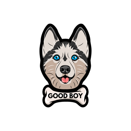 Husky dog with bone. Good boy lettering. Vector illustration isolated on white background.