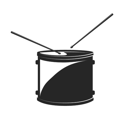 Drum with Drumsticks. Isolated. Vector Illustration isolated on white background.
