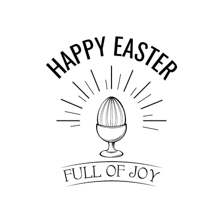 Happy easter day greeting with egg holder. Full of joy text. Vector illustration. Egg in beams, egg-cup.