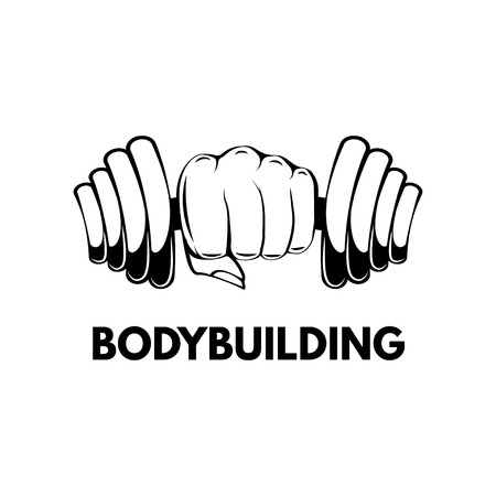 Dumbbell in hand. Bodybuilding. lettering. Gym, fitness label. Vector illustration isolated on white background