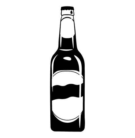 Beer bottle icon. Alcohol drink   Craft beer Vector illustration isolated on white background.