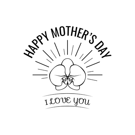 Mother s Day greeting card with Orchid in beams. I love you lettering. Vector illustration.