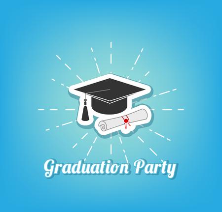 Graduation hat icon. Vector illustration  イラスト・ベクター素材