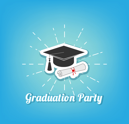 Graduation hat icon. Vector illustration Illustration