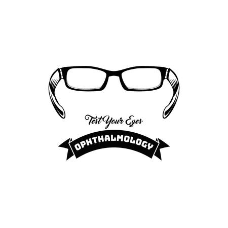 Eyeglasses. Ophthalmology label. Vector illustration Illustration