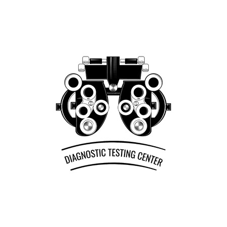 Phoropter, ophthalmic testing device machine icon. Diagnostic testing center lettering. Vector illustration isolated on white background.