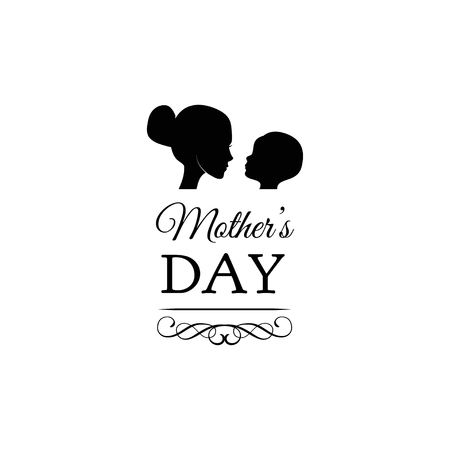 Beautiful concept greeting card for mom day celebration. Mother with child, baby, kid silhouettes. Vector illustration. Swirls, filigree elements, ornate frames.