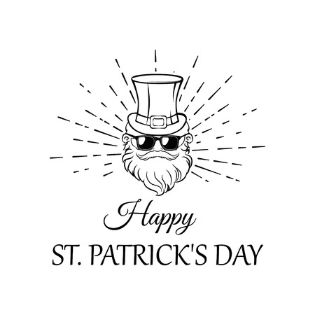 Illustration of Leprechaun in hat and sunglasses in beams. Happy Patricks day lettering. Greeting card. Vector file.