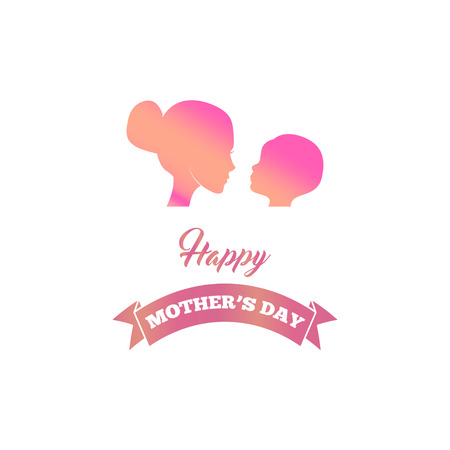 Beautiful mother silhouette with her baby, child, kid. Mothers day greeting card with ribbon. Vector illustration. Illustration