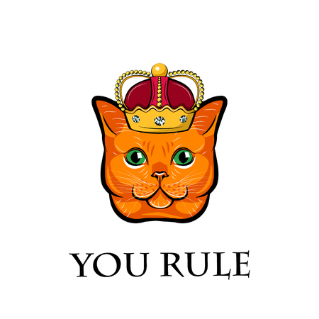 Cute cat face with crown. Cat king. You rule text. Vector illustration isolated on white background. Illustration