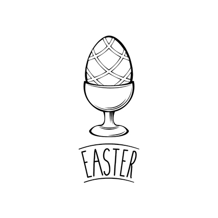 Easter egg on stand. Greeting card design. Vector illustration isolated on white background. Painted egg.  イラスト・ベクター素材