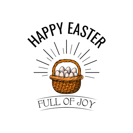 Basket with Easter eggs in beams. Happy Easter and full of joy text. Vector illustration. Greeting card. Illustration