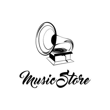 Gramophone vintage hand drawing. Vector illustration. Music store logo label badge.