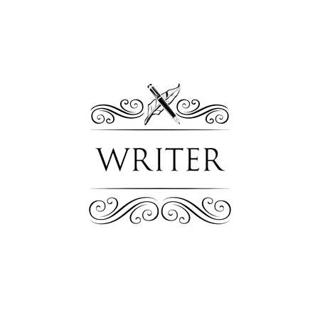Writer logo label badge. Swirls, ornate frame, filigree and flourish elements. Feather pen. Vector illustration.