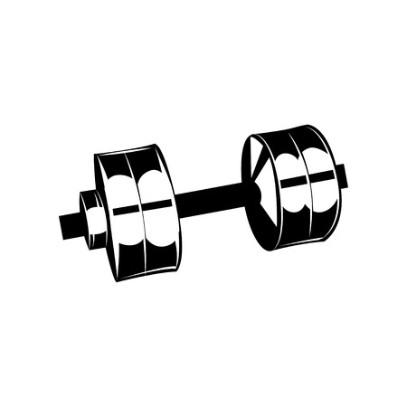 Fitness club logo, gym logotype, dumbbells. Vector illustration isolated on white background. Çizim