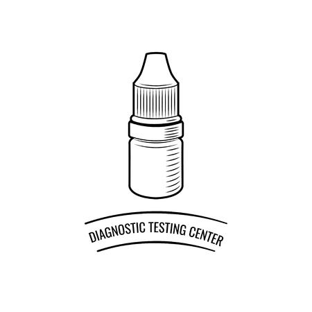 Eye Drop Bottle. Diagnostic testing center lettering. Vector illustration isolated on white background. Illustration