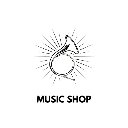 Hand drawn vintage hunting horn. Music shop logo. Vector illustration isolated on white background.