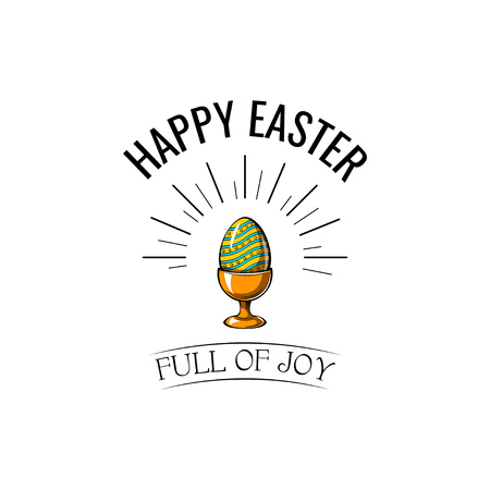 Easter egg in stand icon. Easter greeting card. Vector illustration.