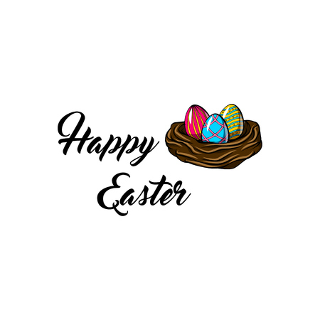 Nest with three painted eggs. Easter greeting card. Vector illustration. Illustration