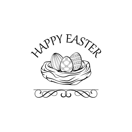 Nest with three eggs. Easter greeting card. Vector illustration with swirls. Ilustração