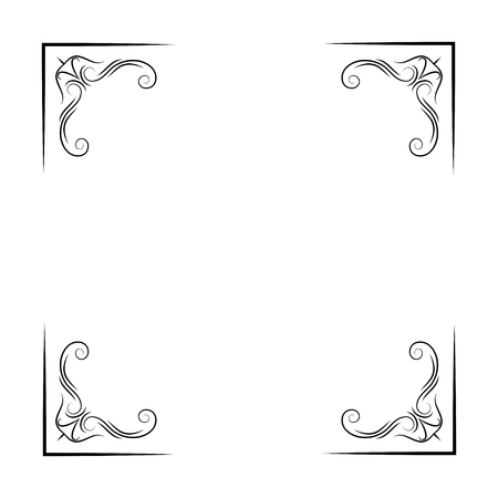 Antique vintage corners. Filigree and flourish elements. Ornate frames. Vector illustration.