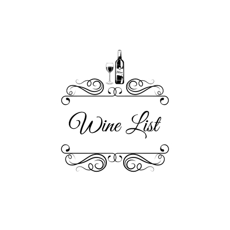 Menu wine design. Wine bottle and glass. Swirls, ornate frames, filigree and flourish elements. Vector illustration. Ilustração