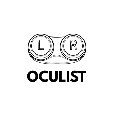 Closed contact lenses container. Lens case. Vector illustration. Oculist lettering 向量圖像