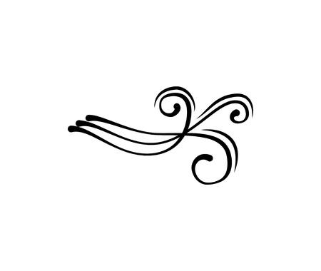 Vintage swirly flourish filigree element for design greeting card, invitation, menu, cover. Vector illustration.