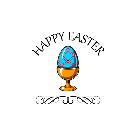 Happy easter day greeting card with egg holder. Vector illustration with swirly lines and ornate frames. Иллюстрация