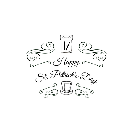 St. Patrick s Day greeting card. Calendar and leprechaun s hat. Swirly lines, ornate frames, filigree and flourish elements. Vector illustration. Ilustração