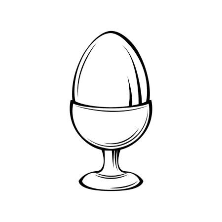 Egg in egg holder. Vector illustration isolated on white background.