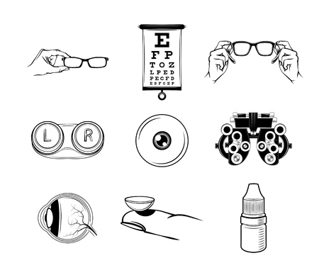 Ophthalmologist icons set