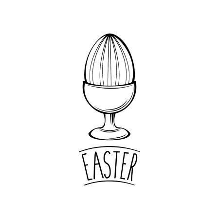 Easter day greeting card with egg holder design Иллюстрация